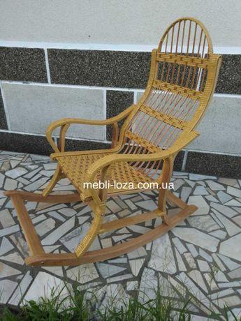 Крісло качалка з лози розборна № 2 (Бук + ротанг), Кресло качалка из л