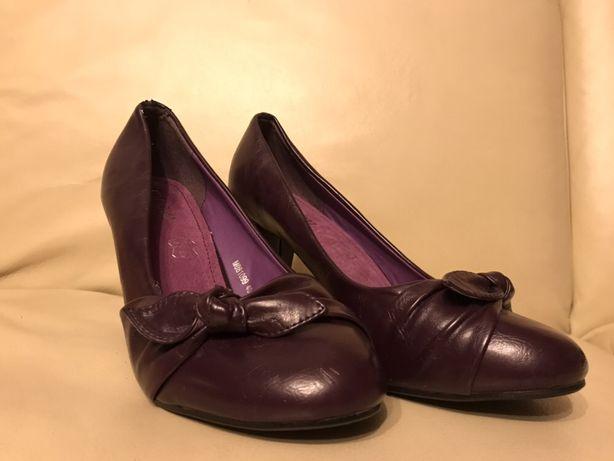 Czółenka-fioletowe, buty MOOW rozmiar 40 skóra naturalna