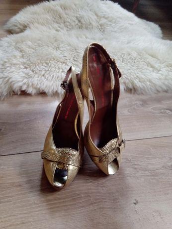 ,,R & Renzi,, sandały skórzane, złote rozm.40
