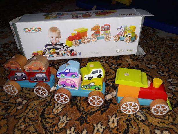 іграшка поїзд з машинками