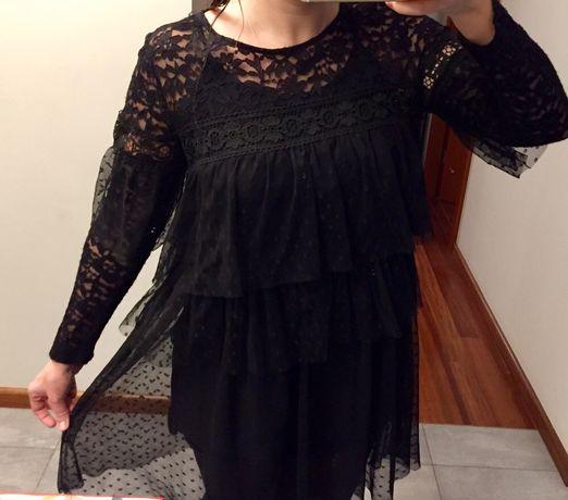 Luksusowa sukienka koronkowa z tiulem 36