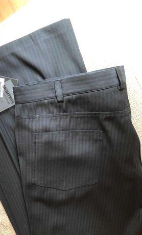 Eleganckie czarne spodnie w prążek prosta nogawka 188 190 pas 98 100