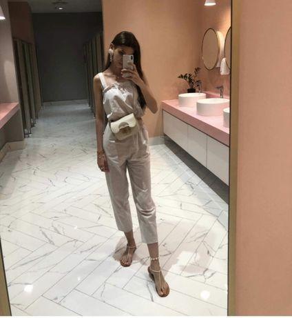 Льняной костюм - топ и брюки