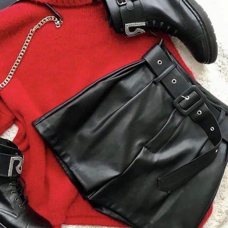 Шорты кожаные высокая посадка юбка-шорты экокожа