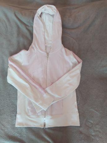 Bluza z kapturem rozpinana biało-różowa