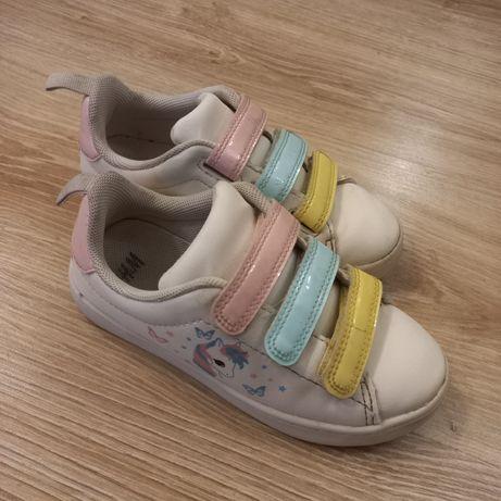 Buty na rzep jesień h&m z jednorożcem pastelowe białe 29