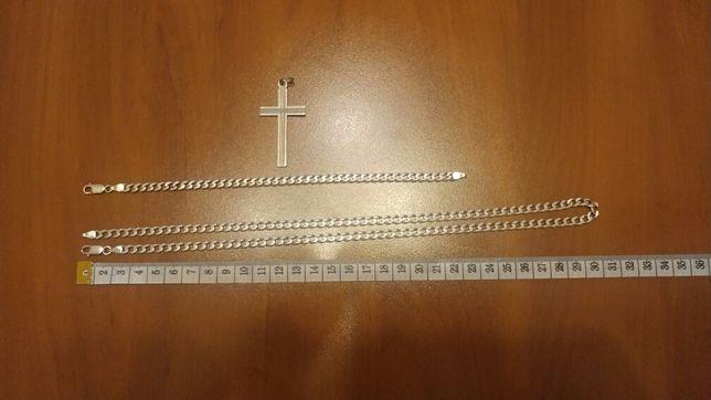 Srebrny Łańcuszek+branzoletka+krzyzyk