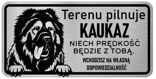 Uwaga Pies Tabliczka nierdzewna Kaukaz