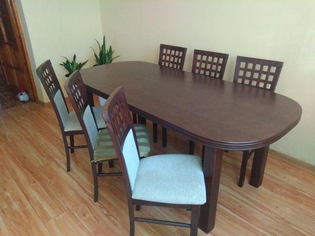 Stół owalny rozkładany do jadalni / salonu plus krzesła