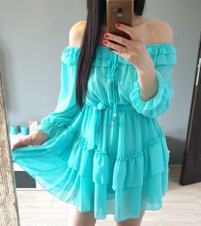 Miętowa sukienka rozkloszowana hiszpanka s m