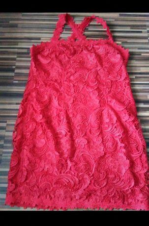 Sukienka czerwona koronka r. 50