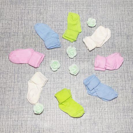 Носочки для новорожденных, носки для малышей, шапочки чепчики для малы