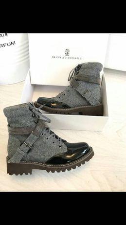 Ботинки кожаные женские Brunello Cucinelli 38 размер
