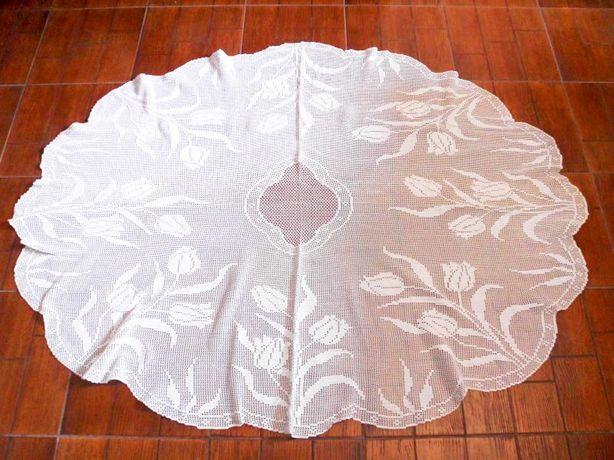 linda toalha em croché branca feita a mão - oval - 125 cm x 165 cm