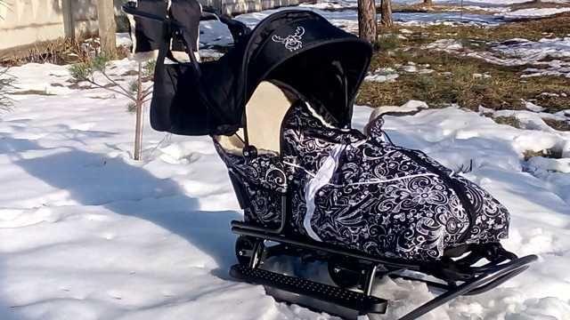 Санки сани с колесами Prampol Rasper Delux 8в1 (Польша)! + сумочка!