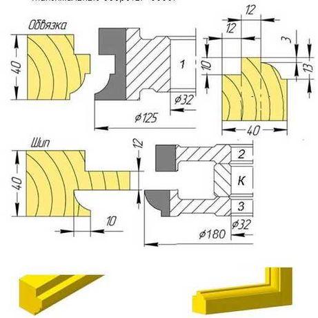 Фрезы деревообрабатывающие для производства окон дверей и др