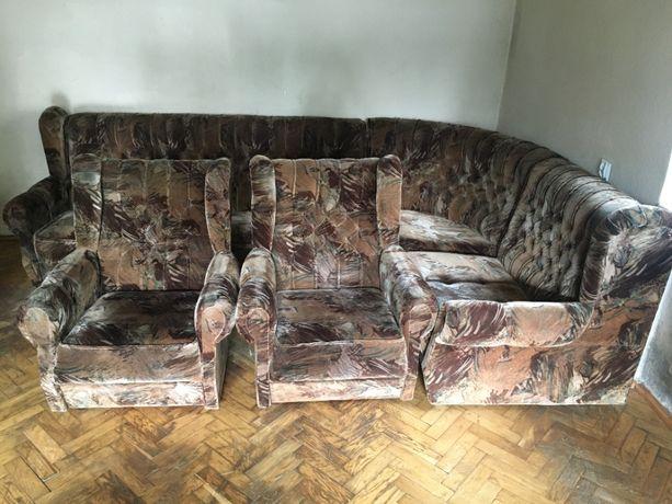 Narożnik kanapa sofa narożna funkcja spania 3 częsciowa fotele
