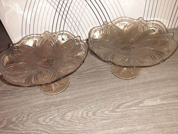 Ваза фруктовница 2 шт стекло СССР Ф26см Н 15 см