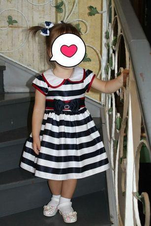 Платье морской тематики на 1-2 года,как новое