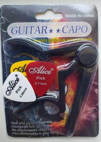 Каподастр (+подарок) для гитары черный отличного качества!