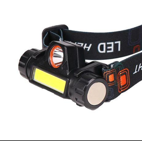 Lanterna cabeça led alto-brilho com bateria lítio recarregavel
