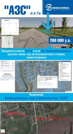 Продам участок под АЗС 0,4Га Новоалександровка (уае)