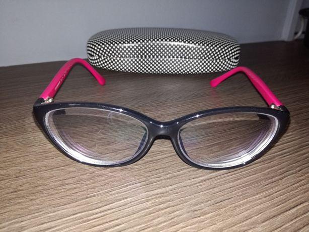 Nowe Okulary czarne różowe etui muchy