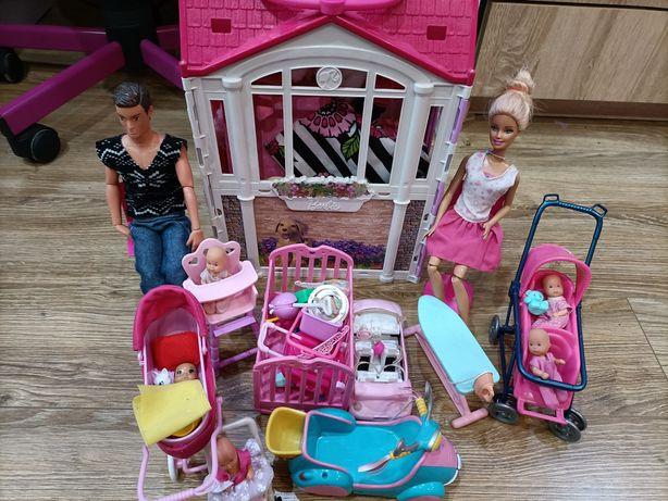 Duży zestaw domek Barbie