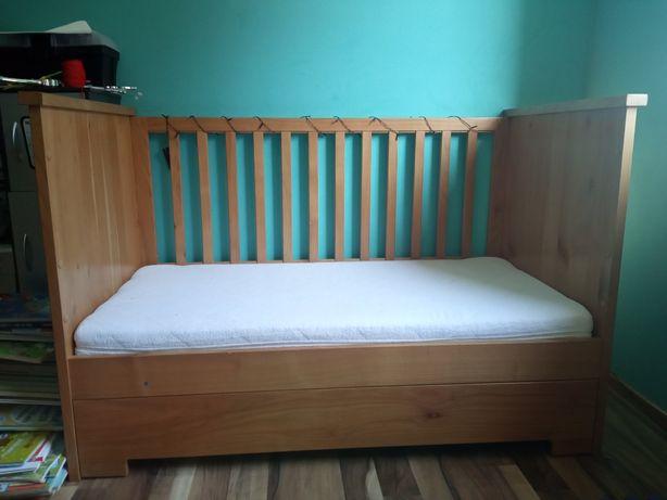 PILNE! Drewniane łóżeczko z szufladą, 140x70- ręczna robota hand made