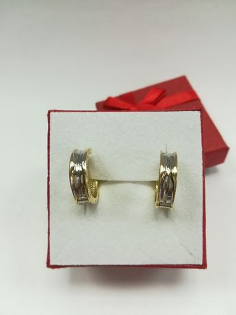 Złote kolczyki kółka bulgari  [585] komunia