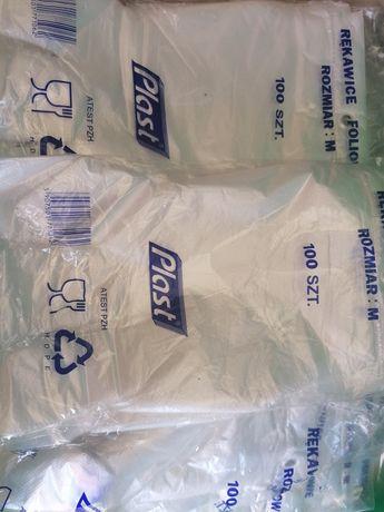 Rękawiczki Foliowe rozmiar M pakowane po 100 szt.
