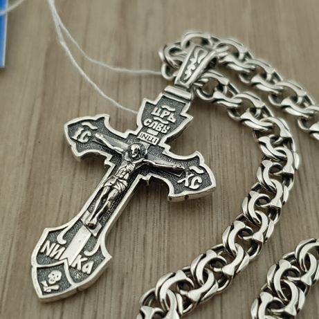Серебряный крестик с цепочкой. Мужской комплект - кулон и цепь серебро