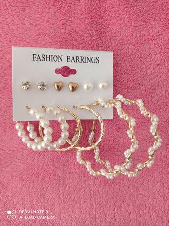 Komplet: kolczyki z perełkami i złote - 6 par.