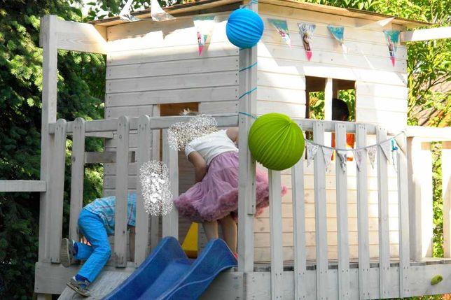 Domek ogrodowy dla dzieci, drewniany, zjeżdżalnia
