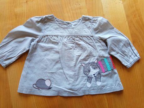 Bluzka z długim rękawem tunika szara z kotkiem rozmiar 68 bluzeczka