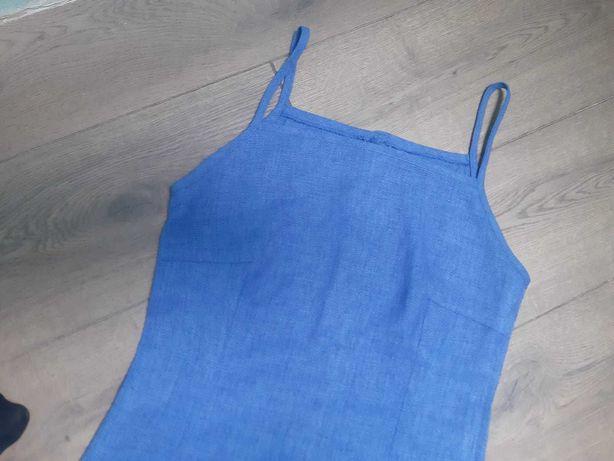 Długa niebieska sukienka damska