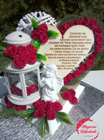 Stroik nagrobny serce nagrobne grób na Cmentarz lampion Led rękodzieło