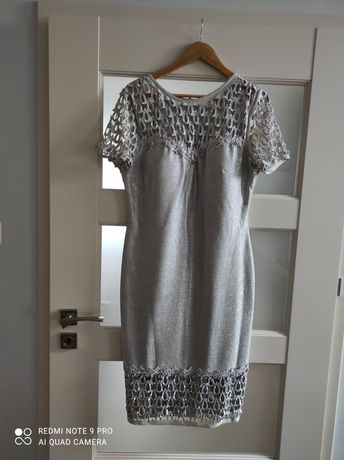 Sukienka srebrna szara