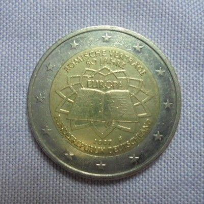 Moeda comemorativa da Alemanha 2 euros 2007 letra F Tratado de Roma