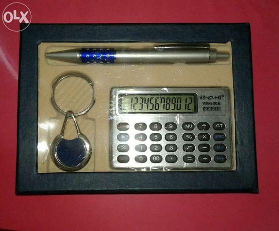 Подарочный набор калькулятор, брелок ручка, сувенир новогодние подарки