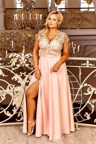 Brzoskwiniowa Sukienka Maxi 4XL Długa 2XL Koronkowa 3XL Rozcięcie 5XL