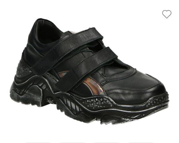 Okazja ! Nowe sportowe buty Venezia skórzane czarne Kazar