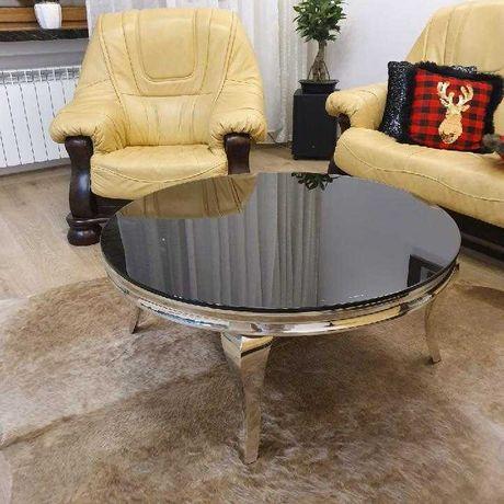 Stolik kawowy okrągły srebrny z czarną szybą