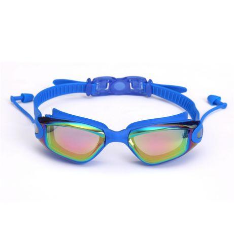 Синие очки + беруши для плавания в бассейн и водоем для детей взрослых