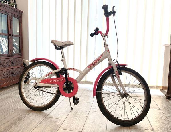 Rower dziecięcy 20 cali dla dziewczynki różowy biały STAN bardzo dobry