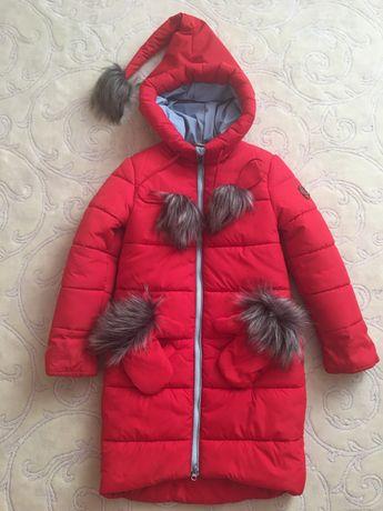 Зимнее пальто для девочки р. 122-128