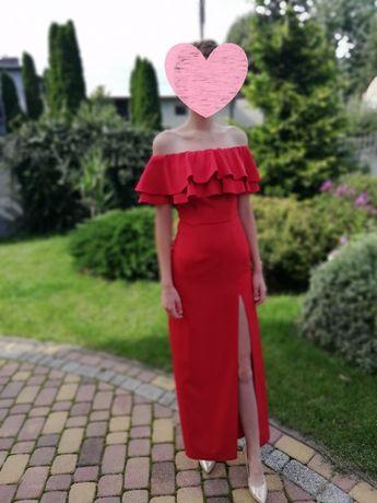 Długa sukienka hiszpanka z rozcięciem