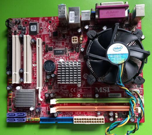 Материнская плата MSI MS-7529 ver 1.0 с процессором и куллером