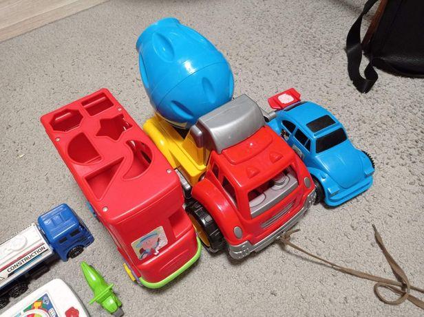 Машинки, планшет, паровозик с отверткой, Большая бетономешалка