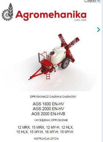 Instrukcja obsługi opryskiwacza AGS 1800, AGS 2000